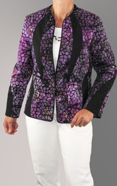 Another version of the Tasmania Jacket #Pattern.  This one is made in Cotton Batiks.  Details and to see the back on www.brensan.com (Jackets) #sew