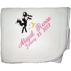 Is there anything sweeter than a baby nursery with a nursery rhyme theme? This Cow Jumped Over the Moon Baby Blanket is perfect if you have a cat with a fiddle and a dish with a running spoon. The bold black and white design will be popular with baby, and mom and dad will love having the name they thought so hard to create right there too.