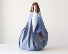 Kallia bag - L. blue canvas and brown leather  von Handmade Bags, makeup bags, wallets and clutches  by Milloo auf DaWanda.com