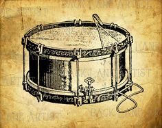 Vintage Drum Music Instrument Clipart Lineart by BackLaneArtist