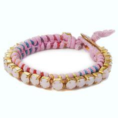Fabric friendship bracelet with jewel beads #Fapos