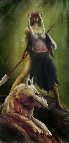 "The Princess And The Wolf by fddt.deviantart.com on @deviantART - San from Miyazaki's ""Princess Mononoke"""