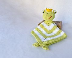Frog Prince Lovey / Security Blanket - PDF Crochet Pattern - Instant Download - Blankie Baby Blanket