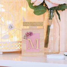 Faith Laine Signature wooden Perfume Bottle - details as follows : Dusty Pink Label, Gold Glitter a lid, Dusty Pink, Mauve & Cream flowers Cream Flowers, Wooden Decor, Dusty Pink, Gender Neutral, Gold Glitter, Mauve, Perfume Bottles, Label, Gift Wrapping