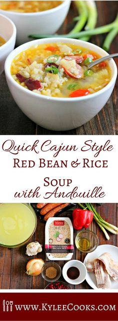 A deliciously spiced, filling soup, packed with bacon, andouille sausage and rice - this Cajun Style Red Bean & Rice Soup is a stick-to-your-ribs soon-to-be favorite! /veeteeusa/ #sponsored