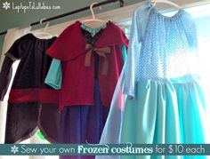 Make your own Frozen costumes for $10 each -- Anna, Elsa, and Kristoff! {LaptopsToLullabies.com}