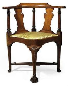A QUEEN ANNE CARVED MAHOGANY CORNER CHAIR Corner Furniture, Furniture Styles, Sofa Furniture, Antique Furniture, Boston Furniture, Colonial Furniture, Smoking Chair, Toddler Desk And Chair, Corner Chair