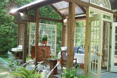 A gazebo-ish thing. Back patio connecting to the house? Outdoor Rooms, Outdoor Gardens, Outdoor Living, Outdoor Bedroom, Garden Bedroom, Indoor Outdoor, Outdoor Furniture, Outdoor Decor, Garden Structures