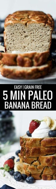Gluten free Grain free and Paleo this easy to make Banana Bread is made in the blower in 5 minutes and then it's in the oven. Soft moist and full of flavor. This healthy banana bread has NO SUGAR and is only naturally sweetened and delicious! Paleo Sweets, Paleo Dessert, Healthy Desserts, Healthy Cookies, Paleo Banana Bread, Paleo Bread, Paleo Diet, Bread Diet, Diet Foods