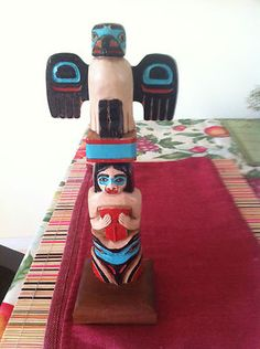 "TOTEM POLE 10"" satisfied RAVEN Hand Crafted"