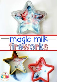 For school age Magic Milk Fireworks. Fun of July science for kids! Make red, white and blue fireworks with just three common ingredients. Science Activities For Kids, Science For Kids, Kindergarten Activities, Preschool Crafts, Preschool Activities, Summer Activities, Science Ideas, Science Centers, Science Worksheets