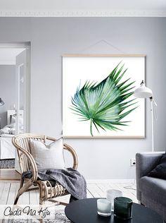 dodatki - plakaty, ilustracje, obrazy - grafiki i ilustracje-Obraz z Liściem Palmy - 100 cm x 100 cm