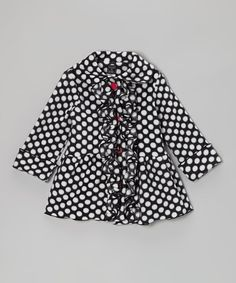 Black Polka Dot Ruffle Coat - Infant, Toddler & Girls
