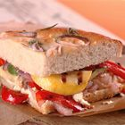Meatless Monday sandwich, grilled peppers, onions and cheese