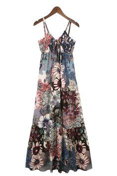 Love Love Love this Maxi Dress! Perfect colors to wear with a Denim Jean Jacket! V-neck Floral Printing Spaghetti Straps Maxi Beach Dress #Denim_Blue #Floral #Beach  #Maxi_Dress #Fashion