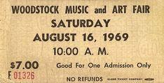 Woodstock Ticket. August 16 1969.