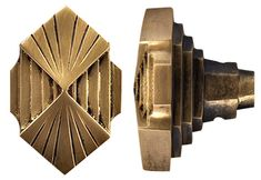 Swoon. Brass fan shaped / diamond shaped hardware pulls. Art Deco at it's best. #brassisback