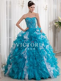 White Blue Ball Gowns Long Ruffled Organza Sweetheart Prom Dress - US$ 196.19 - Style P1218 - Victoria Prom