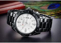 a709c167f05 Pánské kovové hodinky černé s bílým ciferníkem + POŠTOVNÉ ZDARMA Na tento  produkt se vztahuje nejen