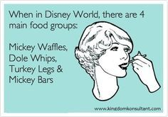 Disney food groups: Mickey Waffles, Dole WHips, Turkey Legs and Mickey Bars! http://www.MickeyTravel.com/Nikki