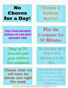 Chore Chart and Reward Coupons-rewards for activity of parents' choosing