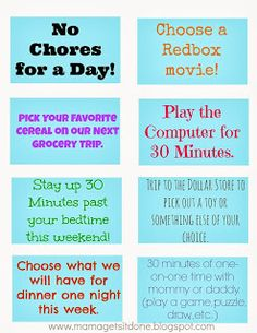 Chore Chart and Reward Coupons-rewards for activity of parents' choosing