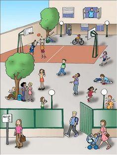 En el patio del cole - good visual for present progressive