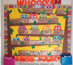 little illuminations: Signing In and Out in Pre-K Preschool Attendance Chart, Classroom Attendance, Preschool Names, Preschool Projects, Preschool Sign In, Owl Classroom Decor, Classroom Themes, Classroom Activities, Classroom Organization
