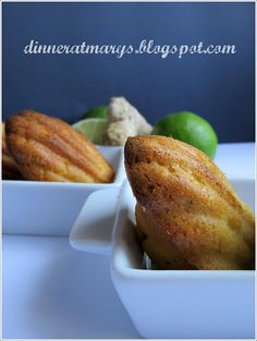 Lime honey and ginger madeleines