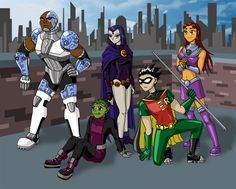 Teen Titans Wallpaper by mystryl-shada on DeviantArt Teen Titans Tower, Teen Titans Go, Raven Beast Boy, Original Teen Titans, Titans Anime, Old Comics, Best Friend Goals, Cartoon Network, Superhero