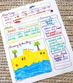 printable trip journal page; example shown