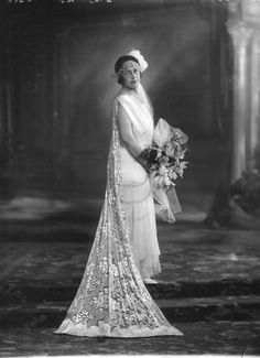 An art deco bandeau tiara, worn by Helen Cole at her presentation in 1924.