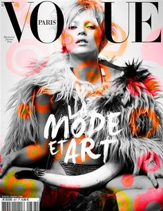 Vogue Cover, It's very eye catching. The colours used were a good choice, It's interesting that they've made the background and the model black and white. The type is a good size, very eye catching and stands out compared to most. I like how the cover is very simple, there isn't much type it's very easy to see every detail.
