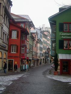 Colorful Facades and Charming Narrow Streets of Zurich, Switzerland