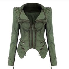 Studded moto jacket Brand new with studded shoulder. Olive color moto style. Bought two of them kept the size small one. Boutique Jackets & Coats Jean Jackets
