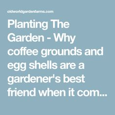 Planting The Garden - Why coffee grounds and egg shells are a gardener's best friend when it comes time to plant this year!