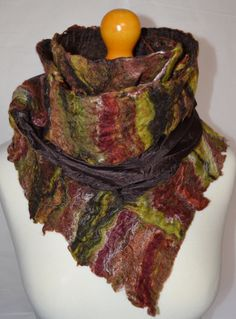 Long brown silk nuno felted scarf or wrap. Handmade. by jaracedesigns on Etsy