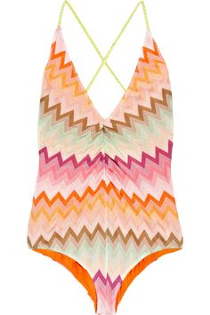 #Missoni   I have been liking Missoni for over 10yrs now. The clothes are always stylish & different. This swimsuit is cute, wld b even cuter w/ a floppy hat of any color, a nice solid colored wrap, & some short cut-out heels accessorized with chainy necklaces and colorful bangles. UHP!, almost forgot...BIG vintage shades! <3..Nikki