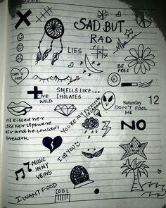 Sad Drawings, Cool Art Drawings, Pencil Art Drawings, Doodle Drawings, Art Drawings Sketches, Notebook Drawing, Notebook Doodles, Doodle Art Journals, Hand Doodles