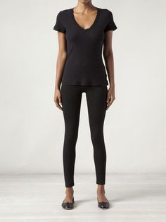 Black cotton casual v t-shirt from Standard James Perse
