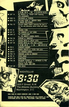 9:30 Club calender flyer for Feb. and March 1987, with Scream, Kingface, Half Japanese, Slickee Boys, Cro-Mags, and more