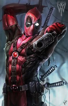 Deadpool by Ceasar Ian Muyuela. Features Deadpool holding a gun upside down with samurai swords strapped to his back. Marvel Vs, Marvel Dc Comics, Heros Comics, Bd Comics, Archie Comics, Marvel Heroes, Comic Book Characters, Comic Book Heroes, Marvel Characters