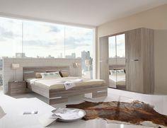 Chambre adulte complète contemporaine AUDREY, coloris chêne blanc Couchage 140 x 190 cm Armoire 4 portes HCOMMEHOME-32