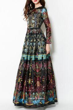 Colorful Vintage Print Maxi Voile Dress: Maxi Dresses | ZAFUL