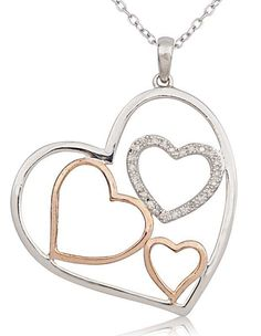 Sterling Silver Two-Tone Trio of Hearts Within A Heart Pendant