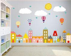 Stadt-Wandtattoo, Wandtattoo Kinderzimmer, Wand Aufkleber Kinderzimmer, Baby Wandtattoo, Kinder Wandtattoo, Wand-Aufkleber-Kindergarten, abnehmbar und wiederverwendbar