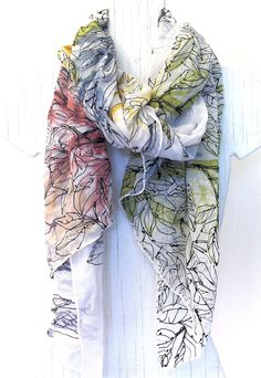 hand painted silk scarf by Takuyo/Etsy