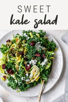 Inspired by the popular chopped salad kits, this sweet kale salad is loaded with crunchy greens and topped with dried cranberries, pepitas and a creamy poppyseed dressing. Healthy Thanksgiving Recipes, Good Healthy Recipes, Fall Recipes, Sweet Kale Salad, Salad Kits, Shredded Brussel Sprouts, Root Veggies, Bird Food, Chopped Salad