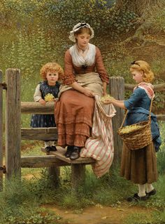 George Dunlop Leslie, Cowslips, 1877, oil on canvas, [no dimensions], Private Collection. Source