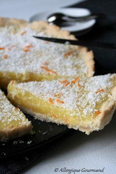 Tarte à l'orange et noix de coco, sans gluten, sans lait, sans oeufs....